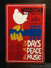 WOODSTOCK MUSIC FESTIVAL CONCERT POSTER VINTAGE STYLE LARGE METAL SIGN 30x40 CM