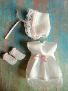 Kelly Small Doll Clothes *Krissy's Layette Satin Christening Gown/Bonnet/Booties
