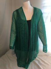 NWT $79 Chico's Cabana Breeze Cardigan Sweater Vivid Green Open Sz 3 XL