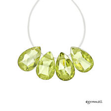 8 Cubic Zirconia Flat Pear Briolette Beads 6x9mm Peridot Green #64950