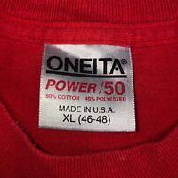 Vintage Mens XL 80s 90s ONEITA Power-50 Plus Solid Blank Red Undershirt T-Shirt