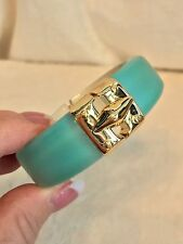 New ALEXIS BITTAR Iridescent Blue Lucite GOLD CLASP Bracelet