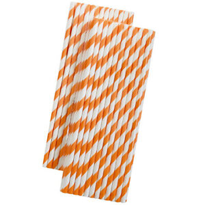 Orange and White Stripe Paper Straws - 50 Pack - Outside the Box Papers