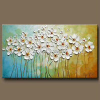 2018 Hand Painted Textured Palette Knife White Flowers Oil Painting,24*48inch