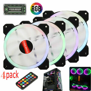 4 pack of Game Eclipse Max RGB Colours LED Ring PC Computer 12cm Case Fan