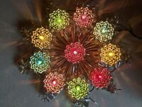 Vintage 10 Light 9 Point Star Christmas Tree Topper Foil & Tinsel by Small World