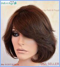 Premium Human Hair Wig Layered Bob Color #4 Brown Classy Style USA Seller 113 C