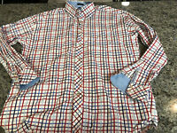Tommy Hilfiger Long Sleeve Plaid Check Shirt 80's 2 Ply Fabric XL Red/white/blue