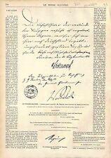 FAC SIMILÉ LAISSER PASSER RÉGNIER TRIANON MARÉCHAL BAZAINE 1873 GRAVURE