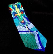 """Oscar de la Renta Floral Abstract Bright Couture Neck Tie 100% Silk 57"""" Blue USA"""