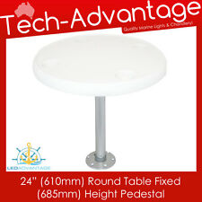 "BOAT WHITE REMOVABLE 24"" (610MM) ROUND TABLE FIXED 685MM HEIGHT PEDESTAL & BASE"