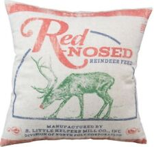 "Red Nosed Reindeer Feed Sack Christmas Throw Pillow Primitives By Kathy 16"" SALE"
