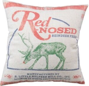 """Red Nosed Reindeer Feed Sack Christmas Throw Pillow Primitives By Kathy 16"""" SALE"""