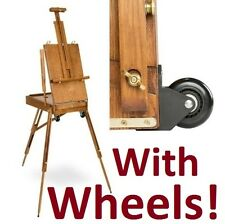 Wheels Travel Art Painting French Easel Stand Wood Folding Artist display Tripod