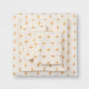 Printed Pattern Fall King Flannel Sheet Set Gold Flower Threshold
