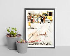 Vintage Danish Travel Print.Copenhagen Denmark travel Poster,Vintage Copenhagen