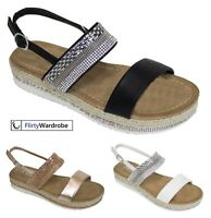 Low Wedge Sandals Diamante Ankle Strap Espadrilles Summer Shoe New Womens Ladies