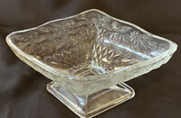 Vintage Indiana Glass Clear Pineapple Floral Diamond Candy Nut Bowl Dish Scallop