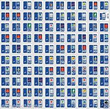 10 Stickers autocollants plaque d' immatriculation département au choix