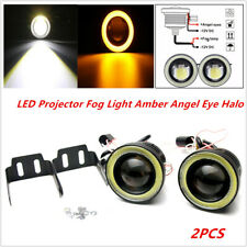 3in 3200Lm LED Projector Fog Lights Round Amber Angel Eye Halo 4X4 Car Truck 12V