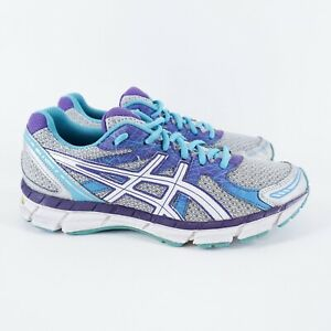 VGC! ASICS Gel-Excite 2 Womens Size 9 Running Shoes Gray Purple Blue T473N