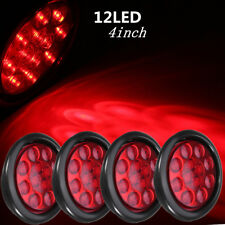 "Set/4 Red 12 LED 4"" Round Truck Trailer Brake Stop Turn Tail Lights Submersible"