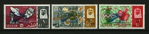 QATAR 1966 Space Rendezvous Gemini Ovpt in Blue Revalued Set of 3, MNH