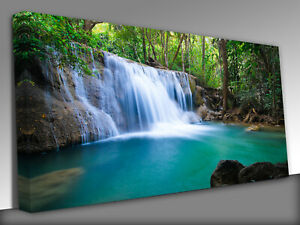 Deep forest Waterfall in Kanchanaburi Panoramic Canvas Wall Art Picture Print