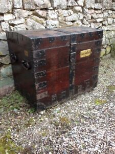 Large Victorian Antique Oak Silver Chest Storage Iron-Bound FREE UK DELIVERY
