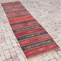 Turkish Rug 28''x92'' Oriental Rug Runner Kilim Corridor Kilim Hallway Rug