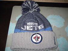 MENS WINNIPEG JETS REEBOK Winter BEANIE CUFFED POM HAT GRAY/BLUE/ NWT