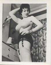 ORIGINAL SILVER PRINT OF BEAUTIFUL SULTRY NUDE WOMAN IN STOCKINGS   JEWELRY