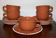 Dansk Mesa Terracotta Flat Cup & Saucer 5 Cups 7 Saucers (Lot of 12 Pieces)