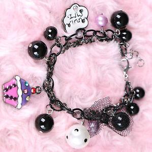 MS-316 Armband schwarz Bettlerarmband Perlen Charms Schmuck Anhänger Pastel Goth
