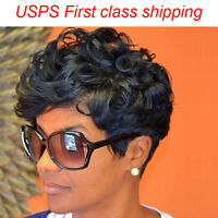 Fashion Afro Synthetic Short Curly Black Hair Wig for Women Heat Resistant Wigs