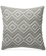 Lucky Brand Diamond Hand Embroidered Square Decorative Pillow, 17 Inch, Beige
