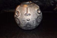 Vintage Black Round Aztec Art Pottery Vase Mayan Face Mask California Spiegel