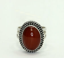 Vintage Sterling Silver Oval Carnelian Textured Frame Open Back Wrap Ring S 6.75