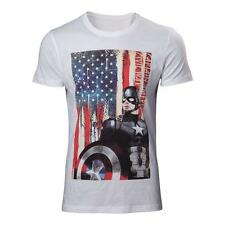 Marvel comics captain america: civl guerre stars and stripes t-shirt petit blanc