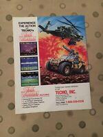 Tecmo Silk Worm Video Arcade Machine Flyer, 1988 NOS