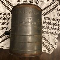 Vintage Bromwell's Measuring Flour Sifter | 3 Cup | Galvanized Metal Wooden Knob