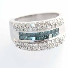 14k Solid White Gold Blue and White Diamond Band Ring