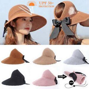 Women Girl Straw Visor Hat Beach Sun Cap Lady Foldable Roll Up Wide Brim Hat Cap