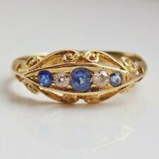 Stunning Antique Edwardian 18ct Gold Sapphire & Diamond Ring c1914; Size 'N 1/2'
