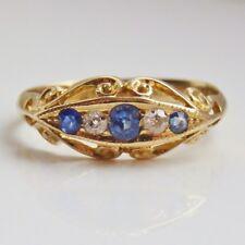 Antico Periodo edoardiano 18ct Oro Zaffiro & Anello Di Diamanti c1914; misura UK 'N 1/2'
