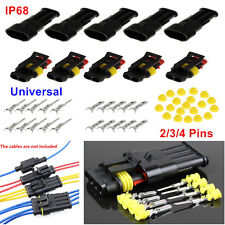15 Kits 2/3/4 Pin Way Sealed Electrical Wire Connector Plugs Car Boat Motorcycle