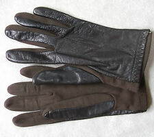 VINTAGE WOMENS LEATHER & FABRIC DARK BROWN DRIVING GLOVES 1960'S 1970'S MEDIUM 7