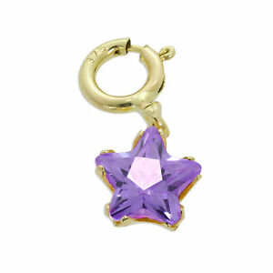 9ct Gold & Amethyst CZ Small Star Clip on Charm Stars 375 Charms Flowers