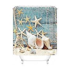 Shower Curtain Sea Shell Starfish & Fishing Nets Design Bath Curtain 12 Hooks