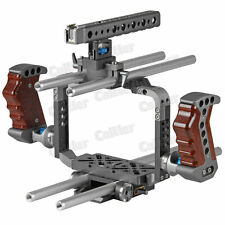 BMCC Cage Blackmagic Cinema Camera Shoulder Rig 15MM Baseplate Wood Top handle